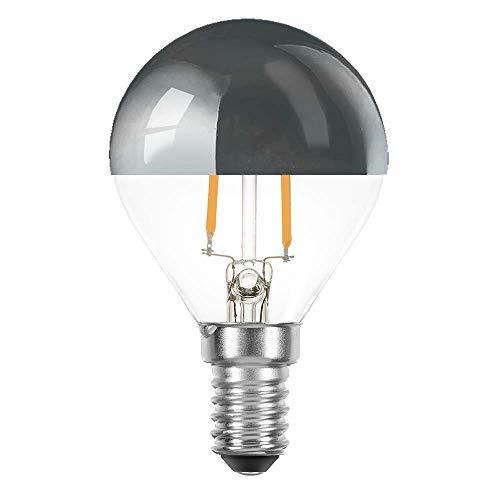 10 x LED Filament Tropfen 2 Watt = 25 Watt E14 Kopfspiegel Silber KVS P45 Glühfaden warmweiß 2700K Retrofit (silber, 10 x 2W ~ 25W)