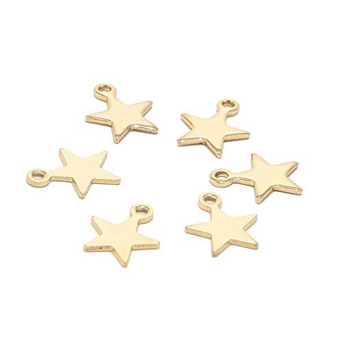 BOSAIYA PJ1 20pcs de Acero Inoxidable de Acero Inoxidable Dinky Star Charms para Pulsera Joyería Haciendo Accesorios Tl0527 (Metal Color : Gold)