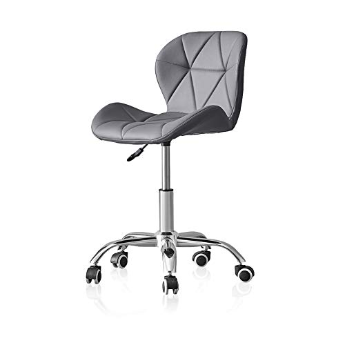 TUKAILAI 1PCS Adjustable Grey Office Chair Faux Leather Swivel Computer Desk with Wheels ChairHome Office Study Room Furniture with Chrome Base Padded Swivel Chair