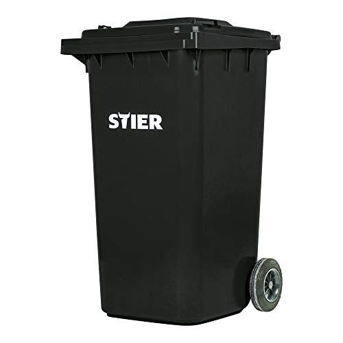 STIER 2-Rad-Müllgroßbehälter, Volumen 240 l, Mülleimer, grau, BxTxH 576x720x1067 mm, Mülltonne, Hergestellt in Deutschland, Restmülltonne mit Rädern und Deckel