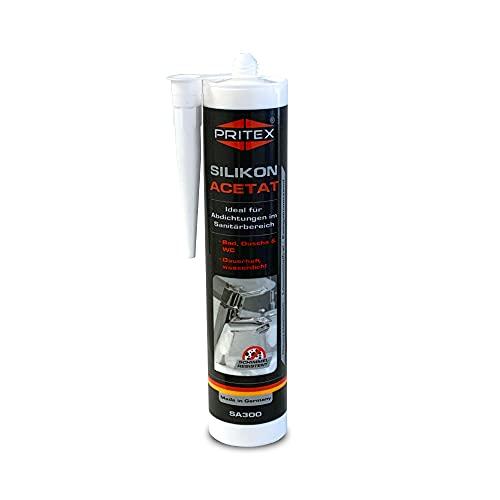 Silikon Sanitär 300 ml   Weiß   Acetat für Bad Dusche und WC   schimmelresistent   zum Abdichten und Verfugen