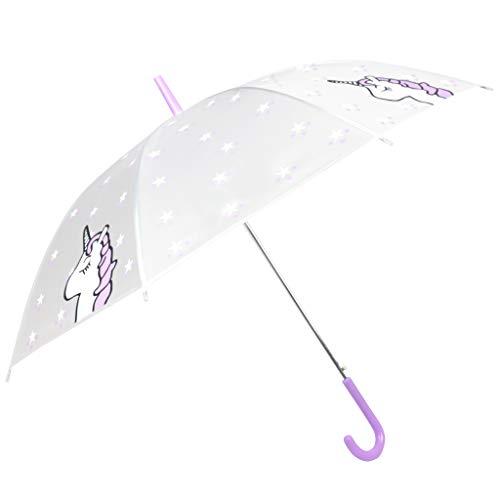 Paraguas niña Unicornio - Paraguas Transparente de Unicornio - a Prueba de Viento y a Prueba...