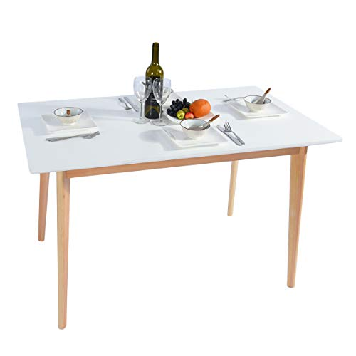GreenForest Dining Table Mid Century Modern Rectangular Kitchen Leisure Table with Solid Wooden Legs 47.2'' x 27.6''x 30'', White