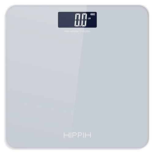 Body Weight Scale for People, HIPPIH Battery-Powered Digital Bathroom Scale with Round Corner, 11x11 in Precise Grey Body Scale with Step-On Technology, Large Blacklit Display, 400 Pounds Max