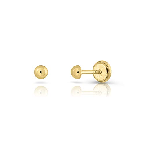 Newborn Baby, Girl or Women Sterling Gold Polished Half Ball Design 3mm Plain Polished Stud Earrings with Maximum Safety Clasp