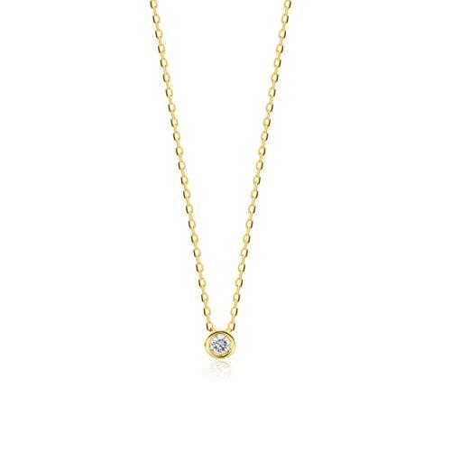 Orovi Collar Señora Solitario con cadena en Oro Amarillo con Diamante Talla Brillante 0.04 ct Oro 9 Kt / 375 Cadena 45 Cm