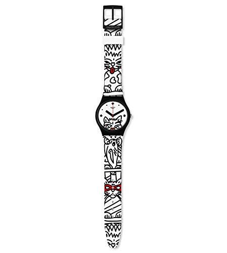Swatch Damen Analog Schweizer Quarz Uhr mit Silicone Armband GB322