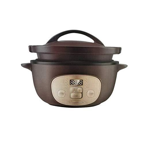 ZOBOLA Elektrischer Ton Suppentopf elektrischer Reiskocher Slow Cooker 3,17 Quart Kleine Kapazität einstellbare Zeit Natürliche Keramik Material Porzellan 120V Unglasiert (Color : Brown)