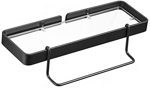 YANGSANJIN Badkamer plank, 1-laags Aluminium Zwarte Ruimte Wandmontage Glas Plank Badkamer Spiegel Voorste Plank Handdoek Rack Keuken Plank (Maat: 45CM)
