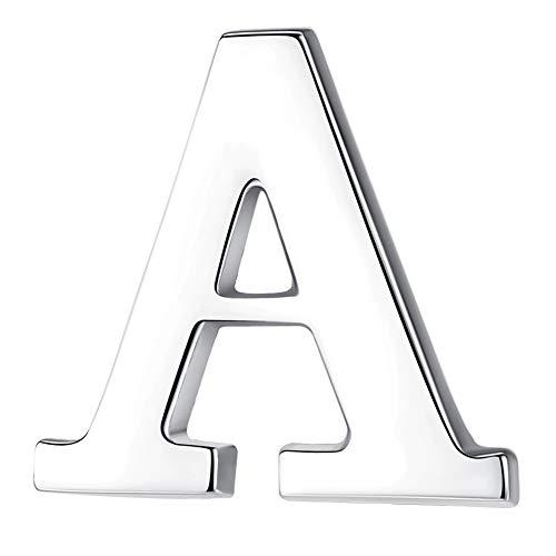 HONEY BEAR 1 Stück Buchstaben Brief Broschen Pins A bis Z, Edelstahl für Herren/Damen Anzug Hemd, Geschäft Hochzeit Geschenk,Silber,MEHRWEG (A 0.59inches)