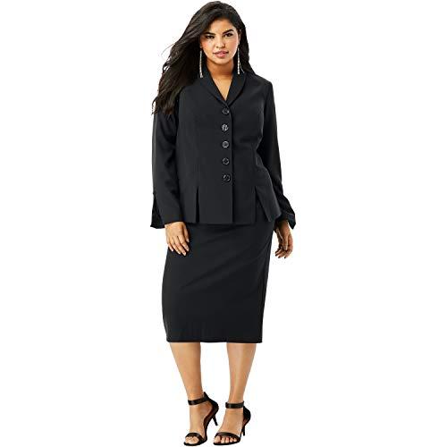 Roamans Women's Plus Size Two-Piece Skirt Suit with Shawl-Collar Jacket - 18 W, Black