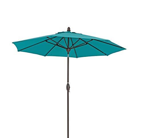 SORARA Parasol Jardin | Turquoise (Vert/Bleu) | Ø 330 cm / 3.3m | Rond FARO | Diamètre du mât Ø 38 mm| Commande à Manivelle (Pied excl.)