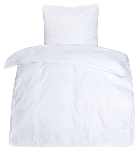 PremiumShop321 Moon - Classic Hotelbettwäsche Bettwäsche weiß Damast 4 mm Hotelverschluss 95° 135x200 / 80x80