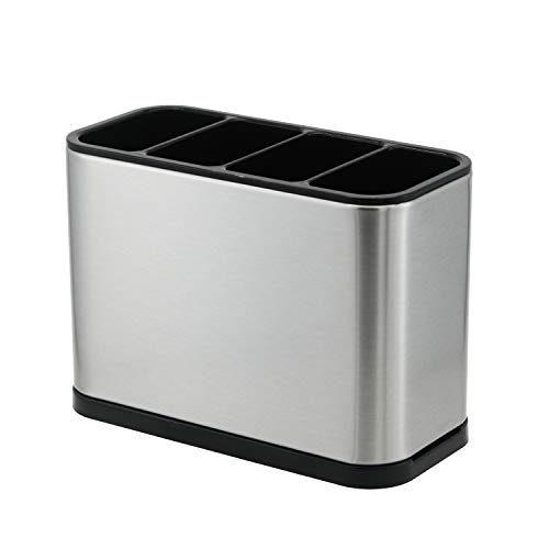 PANMICS Kitchen Utensil Holder for Countertop Flatware Organizer Utensil Crock Holder Caddy Anti Slip Drip Tray Stainless Steel,7.1 x 3.4 x 5.2 inch