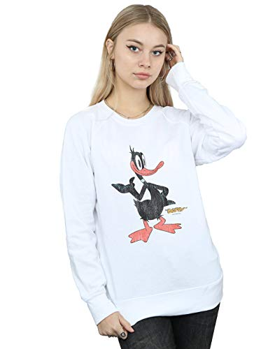 Absolute Cult Looney Tunes Damen Daffy Duck Distressed Sweatshirt Weiß Large