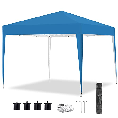 Pop Up Gazebo Tent 3m x 3m, Portable Instant Commercial Gazebo Canopy Outdoor Party Tent Garden Heavy Duty Gazebo Event Shelter With Carry Bag and 4 Leg Weight Bags, Stakes and Ropes (Light Blue)