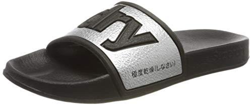 Superdry Eva 2.0 Pool Slide, Zapatos de Playa y Piscina Mujer, Plateado...