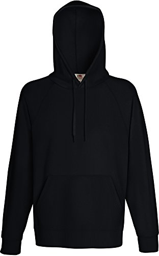 Fruit of the loom Herren Sweatshirt Lightweight Hooded Sweat,Schwarz (Black 101),Large