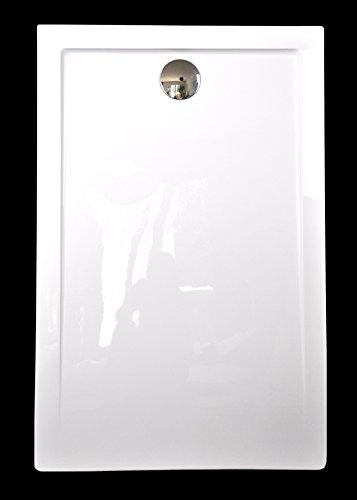 Superflache Duschwanne Duschtasse 90 x 140 cm Komplettes Set aus Acryl kratz und rutschfest OHNE WANNENTRÄGER DIREKT MONTIERBAR da Rückseite glatt Weiß Hochglanz Höhe 3,5 cm inkl. Ablaufgarnitur