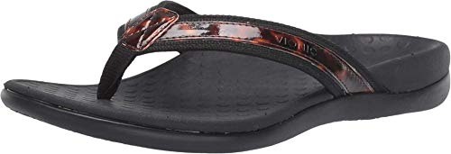 Vionic Women's Tide II Toe Post Sandal - Ladies Flip Flop with Concealed Orthotic Arch Support Black Tortoise 9 M US