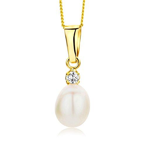 Orovi Collana Pendente Donna con Perle d'acqua dolce Bianche e Zircone taglio brillante in Oro Giallo 9 kt 375 catena 45 cm