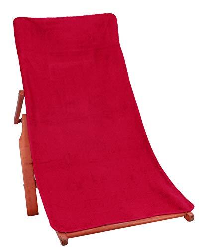 Betz Frottier-Schonbezug Auflage Schonauflage für Gartenstuhl und Gartenliege Größe 60 cm x 130 cm Farbe Bordeaux