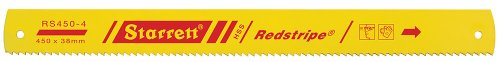 Starrett RS450-4 Redstripe Solid High Speed Steel Power Hacksaw Blade, 0.075' Thick, 4 TPI, 18' Length x 1-1/2' Width