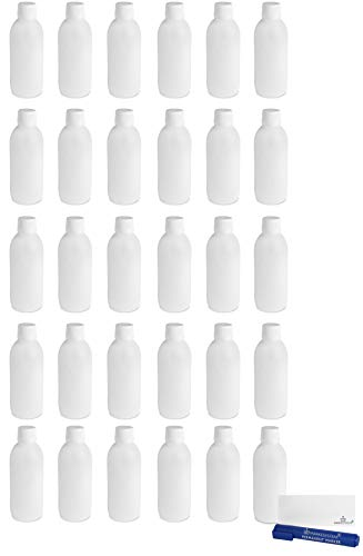 MARKESYSTEM - Botella blanca 250ml (PACK 30 BOTELLAS) tapón de rosca hermético con precinto - Uso alimentario y cosmético - Valona vacía de plástico reciclable HPDE + Kit etiquetado
