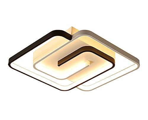 Moderno LED Cuadrado Dormitorio Blanco Negro Lámpara De Techo Luz De Techo Regulable Con Mando a Distancia 48W Sala De Estar Iluminación De Techo De L45CM