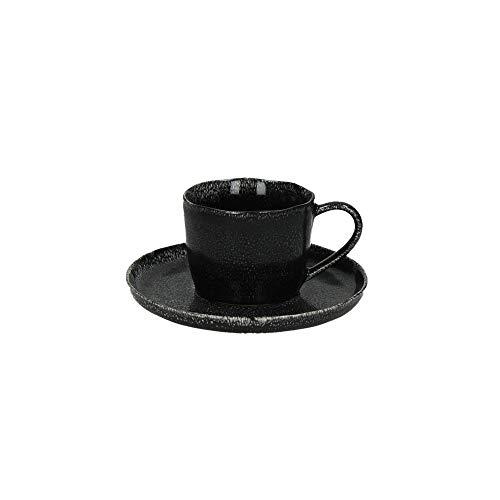 Van Well Experience - Juego de tazas de café (12 unidades, esmaltadas), color negro mate