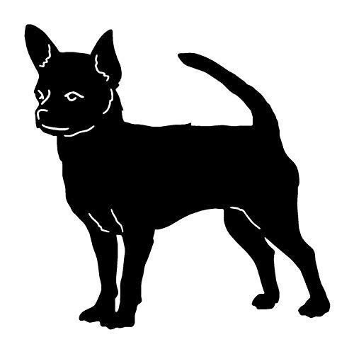 Autoaufkleber Chihuahua Hund Vinyl Aufkleber Mode Auto Aufkleber Auto Styling LKW Zubehör 12.7 * 12.7CM-Schwarz