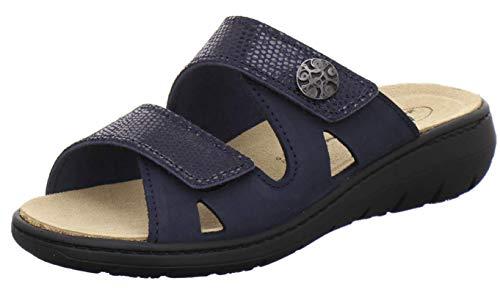 AFS-Schuhe 2808, komfortable Damen-Pantoletten aus Leder, praktische Arbeitsschuhe mit Wechselfußbett, Bequeme Hausschuhe (38 EU, Blau/Navy)