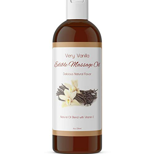 Edible Massage Oil Muscle Relaxer - Vanilla Body Oil and Sensual Massage Oil for Couples Massage - Anti Aging Sweet Almond Oil Body Moisturizer with Aromatherapy Oils for Scented Oil Back Massage