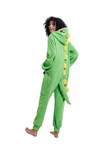 Unisex per Bambini Cartoon Dinosaur con Cappuccio Zipper One Piece Tuta Pigiama Cosplay con Tasche (Dinosauro Verde, M Si Adatta all'altezza 158-168 cm)