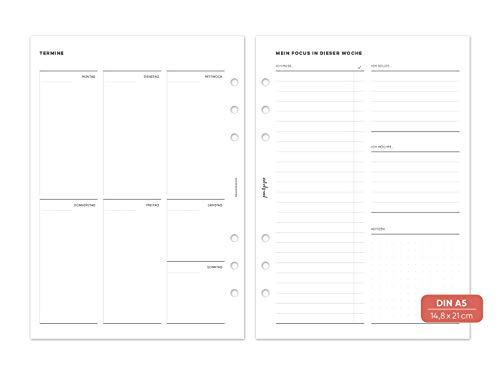 """pen & pages® undatierter Kalender Wochenübersicht""""Focus"""" - Din A5-6 Löcher - A5 Organizer, Kalendereinlagen, 1 Woche auf 2 Seiten, undatiert, 14,8 x 21 cm"""