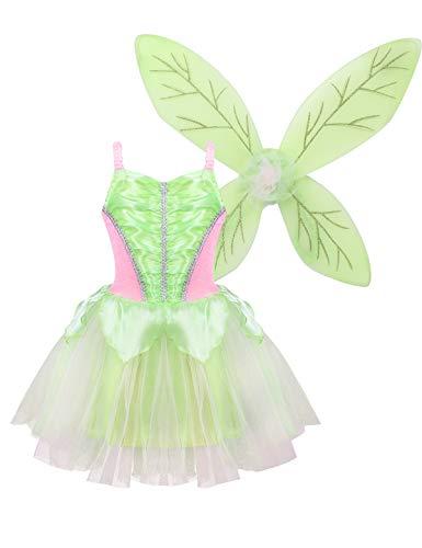 FEESHOW Kinder Mädchen grün Waldfee Kostüm Set Fairy Cosplay Outfit Prinzessin Tüllkleid und Flügel Elfenkostüm für Karneval Fasching Geburtstag Tee grün 104-116