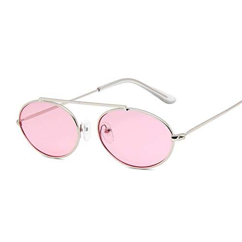 ShSnnwrl Único Gafas de Sol Sunglasses Gafas De Sol Ovaladas Pequeñas Vintage para Mujer, Montura Metálica, Lentes Transparentes,