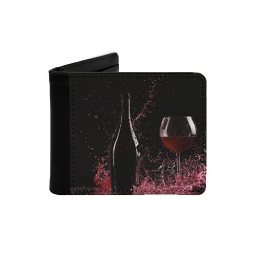 Cartera Delgada de Cuero para Hombre,Botella con Vino Tinto Salpicaduras de Agua Vino en la Mesa sobre Fondo Negro Gran Salpicadura Alrededor de una Botella de Vino Tinto,Cartera Simple
