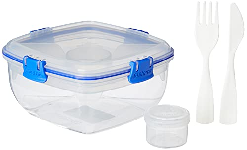 Sistema To Go Collection Salad Compact Food Storage Container, 4.6 Cup,  Great for Meal Prep   BPA Free, Reusable – Medium Blue (37.1 Oz)