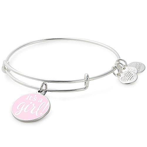 Alex and Ani Women's Color Infusion It's A Girl Bangle Bracelet, Shiny Silver, Expandable