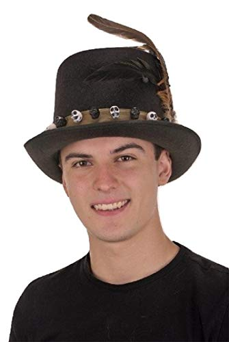 Jacobson Hat Company Men's 6 Inch Deluxe Voodoo Witch Doctor Hat with Green Satin Band,Black,One size
