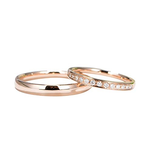 AmDxD 2Pcs 18K Rotgold Damenringe und Herrenring Elegant Design mit Diamant 0.11ct Verlobungsringe Goldringe Diamantring Rose Gold - Damen Gr.54 (17.2) & Herren Gr.56 (17.8)