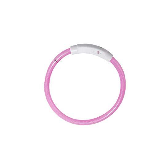 LED collar del animal doméstico del USB del collar de perro del gato del gatito del perrito de la Noche de Seguridad Light Up collar collar de perro que brilla Necesidades Diarias Rosa Animal