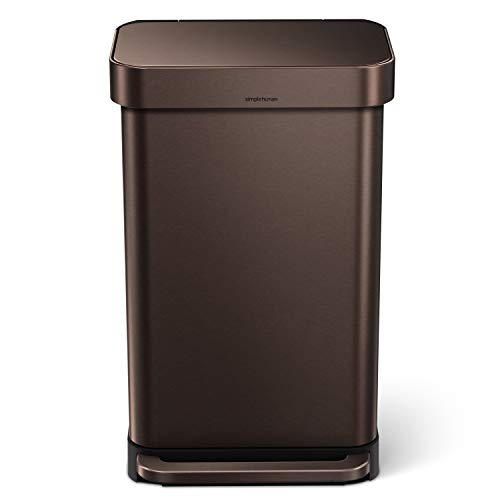 simplehuman 45 Liter / 12 Gallon Stainless Steel Rectangular Kitchen Step Trash Can with Liner Pocket, Dark Bronze Stainless Steel
