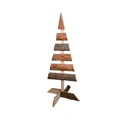 RM E-Commerce - Decorazione a forma di albero di Natale, in legno naturale, 1 m