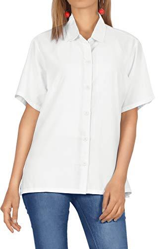 LA LEELA Bluza hawajska na co dzień Essentials   koszulka z krótkim rękawem   bluzka na imprezę plażową   lato na co dzień   luźna Aloha   damska koszula robocza   XS - 3XL   rayon   jednolity gładki