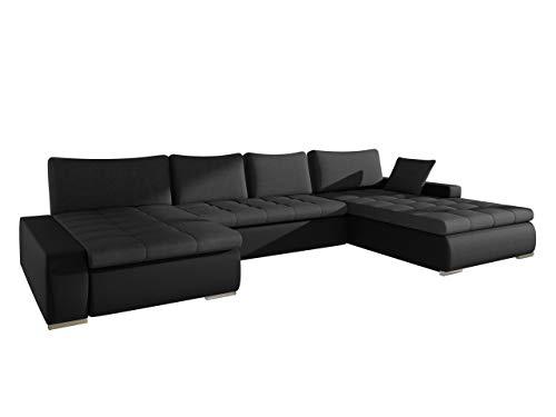 Großes Design Ecksofa Caro, Elegante U-Form Couch, Eckcouch mit Bettkasten und Schlaffunktion, Couchgarnitur, Schlafsofa, Farbauswahl, Bettsofa für Wohnzimmer, Wohnlandschaft (Soft 011 + Lux 08)