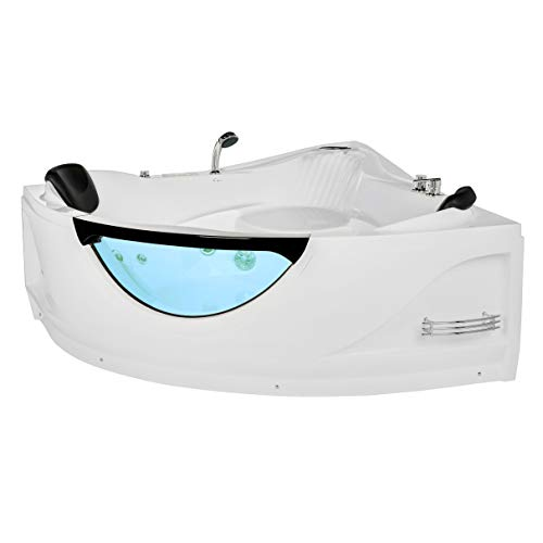 Empava 59 in. Whirlpool Corner Bathtub Acrylic Luxury 2 Person Hydromassage Water Jets Soaking Massage SPA Double Ended Tub EMPV-JTX319, 59 Inch, White