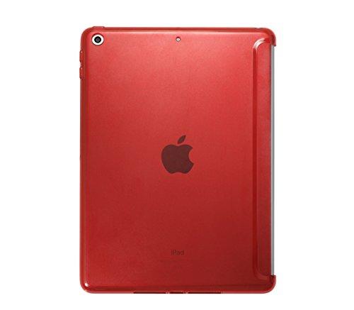 Khomo beschermhoes voor iPad 9.7 2018-2017, halftransparant, achterkant siliconen, spuitgegoten, compatibel met originele Smart Cover voor Apple iPad 9.7 2018-2017, Companion, doorzichtig, rood