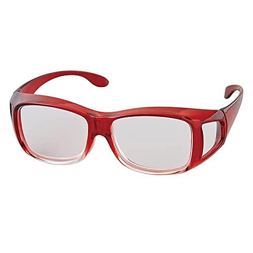 アイメディア 拡大鏡 ルーペ 拡大鏡メガネ 1.8倍 メガネ型拡大鏡 ルーペメガネ メガネルーペ メガネ型ルーペ ワインレッド 男女兼用